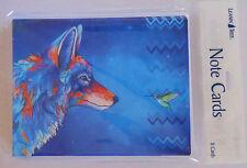 8 Leanin Tree Note Cards, VERY BRIGHT COLORFUL WOLF & HUMMINGBIRD Micqaela Jones