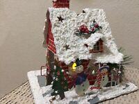Vintage Hallmark Metal Tea Light Christmas House w Snowy Glitter Roof & Snowmen