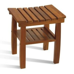 Conair Home Solid Teak Wood Shower Bench/Chair Shelf Bath Spa Indoor-New-#PTB10