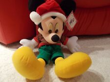 Mickey Mouse Disney Christmas Holiday Plush Toy Retired Kohls 18 Inches Heigh LE