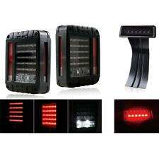 For Jeep Wrangler JK JKU 2007-2018 LED Rear Tail Light Smoke 3rd LED Brake Light