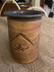 """Seagrove NC Pottery 6"""" Vase Sand Colored ~ Blue Interior - Mountains Runner"""