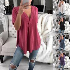 Women Summer Deep V Neck Short Sleeve T Shirt Casual Solid Blouse Loose Tee Tops