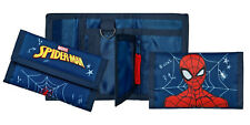 Spiderman Blue Canvas Zipped Tri Fold Wallet with Key Ring