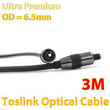 3m Premium Toslink Fibre S/PDIF Optical Cable 5.1 6.1 7.1 7.2 Digital Audio Lead