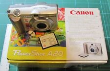 Canon PowerShot A20 + AC Adapter + Wide Lens & Hood + New Card Reader - MIB