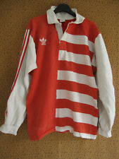 Maillot Rugby Adidas 80'S Vintage Trefoil Coton rouge blanc Jersey - L