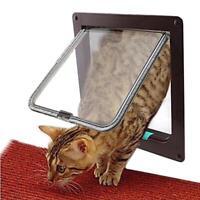 4 Way Lockable Dog Cat Security Flap Door Kitten Puppy Pet Gate Door Pet Supply