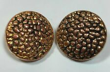 """Vintage Gold & Black Round Buttons Set of 2 Shank 3/4"""" Pebble Pattern"""