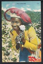 Black Americana Linen ~ Dem Cotton Boll ~ Black Girl In Field Picking Cotton