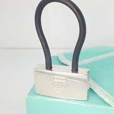 2001 Tiffany & Co Sterling Silver 1837 Lock Key Ring Black Cord with Box & Pouch