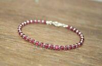 Natürlicher Rosa Turmalin Edelstein Perlen Armband 925 Silber Verschluss