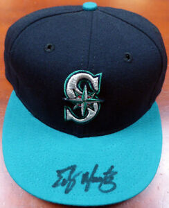 EDGAR MARTINEZ AUTOGRAPHED SIGNED SEATTLE MARINERS NEW ERA HAT MCS HOLO 115048