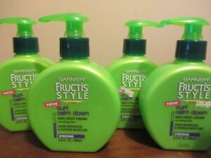 Lot of 4 Garnier Fructis Curl Calm Down anti-frizz cream strong 6.0 oz each