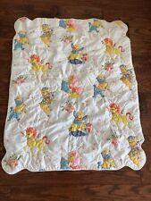 Vintage BABY Crib Quilt LULLABYE  GOODNIGHT Animals CAT Lion HORSE Rabbit PIG