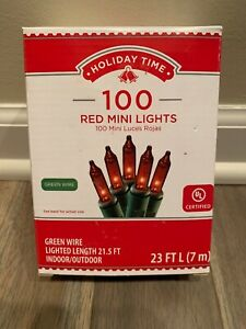 Holiday Time 100 Red Mini Lights Green Wire Fall Thanksgiving Christmas