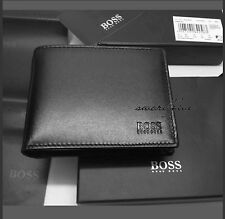 ORIGINAL HUGO BOSS 'AREZZO' TRIFOLD BLACK COIN POCKET REAL LEATHER WALLET; Boxed