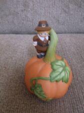 "Avon Porcelain Pumpkin Bell Thanksgiving With Pilgrim Boy 4 1/2"" X 3"""