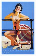 Pin Up Girl Poster 11x17 black hair beauty nude bikini beach seaside glamour