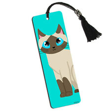 Cute Siamese Cat Printed Bookmark with Tassel