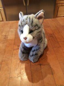"Toys R Us Gray Tabby CAT Kitten 9"" Sitting Plush Stripes 2017 Stuffed Animal"