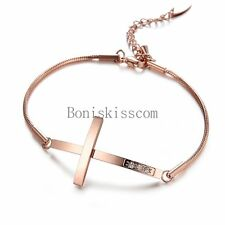 Rose Gold Tone Stainless Steel Snake Chain Sideways Cross Ladies Bracelet Gifts