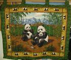 """PANDA FAMILY, Vintage Wall Hanging, Tapestry, ADORABLE, Cotton, 42"""" x 33"""""""