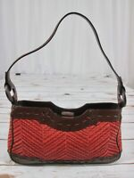 Maxx New York Brown Leather Orange Straw Purse Handbag Small Cut Outs Magnetic