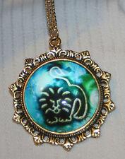 Lovely Fleur de Lis Starburst Rim Blue & White Leo Lion Zodiac Goldtone Necklace