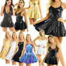 Women PVC Leather Short Mini Dress Wet Look Lingerie Lace Musical Skirt Clubwear