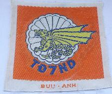 vietnam american war vintage orange woven  7th batl  ARVN parachute forces patch