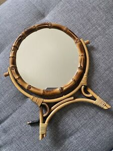 Vintage Adjustable Rotating Round Bamboo Cane Vanity Dressing Table Mirror Stand