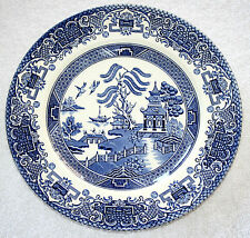 VINTAGE ENGLISH IRONSTONE POTTERY DINNER PLATES - OLD WILLOW PATTERN