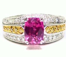 2.34CT 18K Gold Natural Padparadscha Sapphire Diamond Engagement Ring Vintage