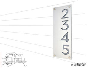 Modern House Numbers, Alucobond with Grey Acrylic - Vertical 2 - Contemporary Ho