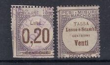 1920 VITTORIO EMANUELE III MARCHE DA BOLLO LUSSO E SCAMBI 0,20 LIRE ANNULLATA