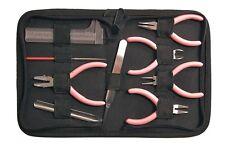 Mini Jewellery Making Tools Pliers Cutter Tweezer Scoop Reamer Ruler Case Pink