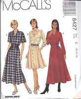 8427 UNCUT Vintage McCalls SEWING Pattern Misses Front Buttoned Dress Belt NOS