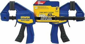 "2 Pack IRWIN 6"" QUICK-GRIP MINI ONE-HANDED RATCHETING BAR CLAMPS 140LB 1964743"