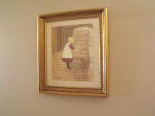 Watercolor of a LITTLE GIRL AT RAIN BARREL signed Marjorie Walpole