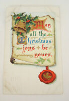 c. 1912 May All The Christmas Joys Be Yours Vintage Post Card Scroll Bell Design