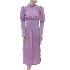Rhode Resort Smocked Midi Dress Ruffle Purple Velvet Evening Resort XS 201685