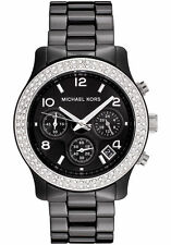 NEW MICHAEL KORS BLACK CERAMIC RUNWAY CHRONOGRAPH LADIES WATCH MK5190
