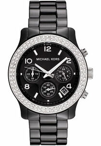 BRAND NEW MICHAEL KORS BLACK CERAMIC RUNWAY CHRONOGRAPH LADIES WATCH MK5190