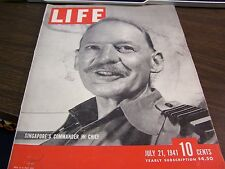 VINTAGE LIFE - JULY 21 1941 - SINGAPORE'S COMMANDER IN CHIEF  COVER  - V-GOOD