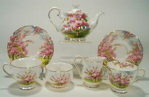 1980's Royal Albert Blossom Time Small Teapot 2 Cups/Saucers Mini Creamer/Sugar