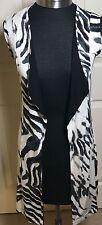 Dunia Women's Zebra Black White Open Front  Cardigan Top Size S -NWT