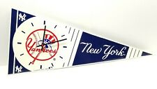 Vintage 1989 New York Yankees Plastic Flag Wall Clock MLB P&K PRODUCTS COMPANY