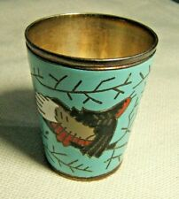 RUSSIAN STYLE ENAMEL SILVERPLATE SHOT GLASS WITH BIRD HALLMARKED