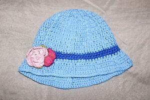 Girls Handmade Knitted Blue Bucket Hat Flower Accent Soft
